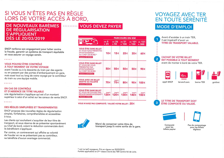 Calendrier Tarif Sncf.Nouvelles Regles De Regularisations A Bord De Vos Trains